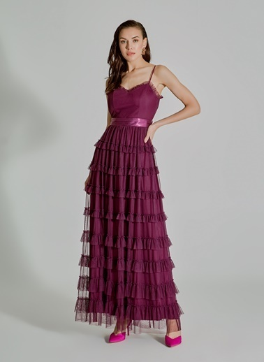 People By Fabrika Fırfırlı Tül Elbise Mor